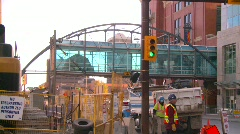 Construction site backhoe dumptruck, Eighth Avenue Place, #3 Stock Footage