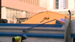 construction site backhoe dumptruck - stock footage
