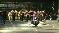 Crime and justice, police motorbikes lead military parade Stock Footage