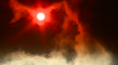 cloud obscured sun, steam from industrial plant - stock footage
