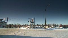 Railroad, intermodal container train at level crossing, winter Stock Footage