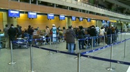 Airport terminal, people lined up, #5 wide shot Stock Footage
