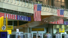 flag, US flags, #9 and sign in airport - stock footage