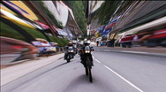 Blurred bikes from motorcycle rally Stock Footage