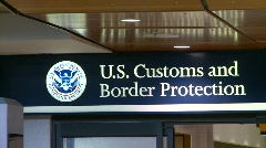 Stock Video Footage of US customs and immigration sign
