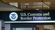US customs and immigration sign Stock Footage