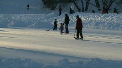 fitness, ice hockey, old style shinny on an outdoor rink, #4 - stock footage