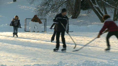 Fitness, ice hockey, old style shinny on an outdoor rink, #5 Stock Footage