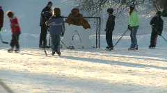 Fitness, ice hockey, old style shinny on an outdoor rink, #3 Stock Footage