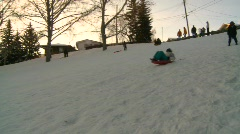 fitness, toboggan hill, winter snow sports, #1 - stock footage