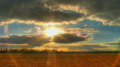 Sunset over fields hdr time lapse Stock Footage