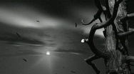 Vintage looking time-lapse of sunset in black and white Stock Footage