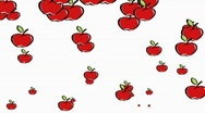 Stock Video Footage of Falling illustrated apples