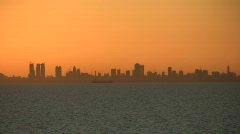 City silhouette at sunet 2 Stock Footage