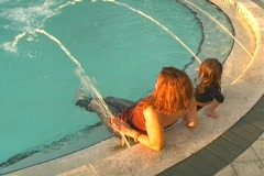 Mother and Daughter in a Swimming Pool-10 - stock footage