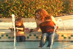 Mother and Daughter in a Swimming Pool-11 - stock footage