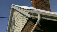 Frozen eavestrough. Two Shots. Stock Footage
