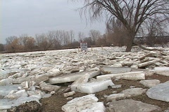 Raisin River Ice Jam 2009 Stock Footage