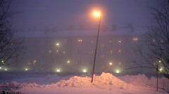 Foggy winter-evening in a city in Sweden Stock Footage