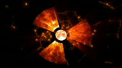 nuclear radiation weapon symbol - stock footage