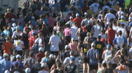 Stock Video Footage of back of runners in race