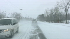 POV Winter Snow Driving On A Rural Road Stock Footage