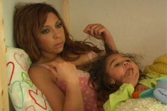 Mother and Daughter in Bed-3a - stock footage