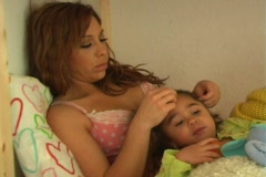 Mother and Daughter in Bed-3b - stock footage