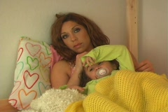 Mother and Daughter in Bed-CU - stock footage