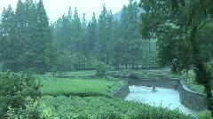 Hang Zhou Tea Fields and Tea House 2 Stock Footage