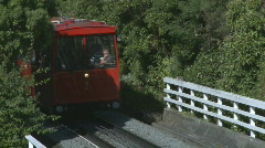 Cablecar acsends steep hill Stock Footage