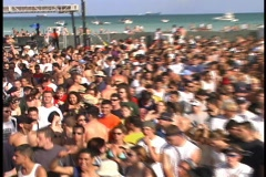 Zoom on Crowd at Huge Party Miami Beach on Spring Break Florida Daytona College  - stock footage