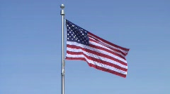 American (USA) Flag on Blue Sky - Centered Stock Footage