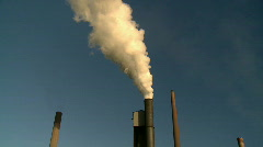 Smokestacks - Smoke Pouring from Chimney of Steel Mill Stock Footage