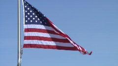 American (USA) Flag on Blue Sky - Close - stock footage
