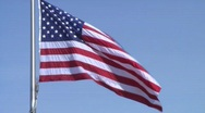 American (USA) Flag on Blue Sky - Close Stock Footage