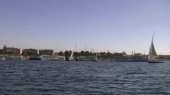 Felucca Sailing Nile River Stock Footage