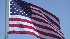 American (USA) Flag on Blue Sky - Full Screen Stock Footage