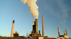 Steel Mill, Industry, Manufacturing Plant, Smokestacks Stock Footage