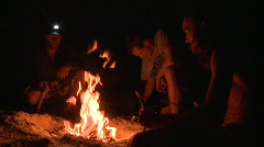 Campers making campfire in Florida Stock Footage