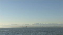 Elliott Bay and Olympic Mountains Stock Footage