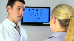 Optician with patient - stock footage