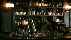 Barman cleans wine bar Stock Footage