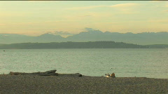 Olympic Mountains from Alki Beach in West Seattle Stock Footage