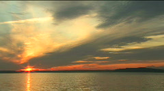Washington State Sunset with Olympic Mountains Stock Footage