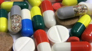 Medicine and drugs. Pills tablets and capsules rotate. Stock Footage