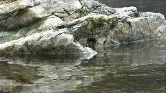 Granite stones in river waves.  Stock Footage