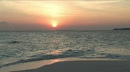 Swimmer at Sunset in Maldives Island Stock Footage