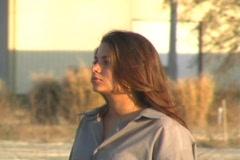 Beautiful Brunette Walking Outdoors Stock Footage