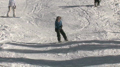 Girl snowboarder winter recreation mountain P HD Stock Footage